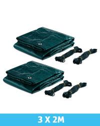 Gardenline Tarpaulin 3 x 2m 2 Pack - Green