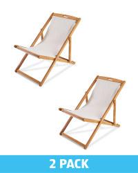 Gardenline Taupe Wooden Deck Chairs