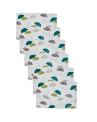 Geo Flower Print Placemats - 6 Pack