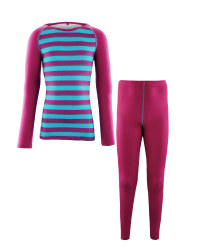 Girl's Berry Striped Base Layer Set