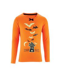 Girl's Halloween House T-Shirt - Orange
