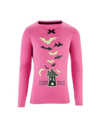 Girl's Halloween House T-Shirt - Pink