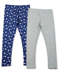Girl's Leggings 2 Pack - Grey / Hearts