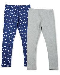 Girl's Leggings 2 Pack - Grey / Hearts
