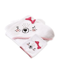 Pink Hooded Towel With Wash Mitt