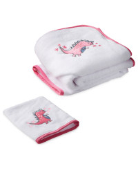 Pink Dino Hooded Baby Towel & Mitt