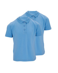 Girls' Blue Polo Shirts 2 Pack