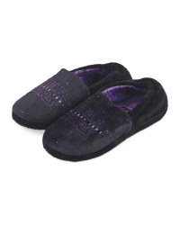 Girls' Elastic Black/Purple Slippers