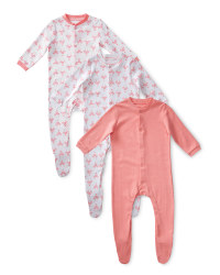 Girls' Flamingo Sleepsuits 3-Pack