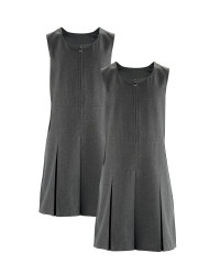 Girls' Pinafore Dresses 2 Pack - Grey