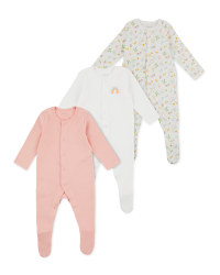 Lily & Dan Pink & White Sleepsuits