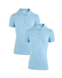 Girls' Polo Shirts 2 Pack - Blue