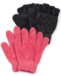 Girls Gloves - Black and Raspberry