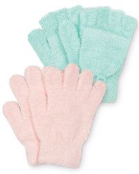 Girls Gloves - Pink and Mint