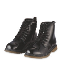 Lily & Dan Girls Patent Winter Boot - Black