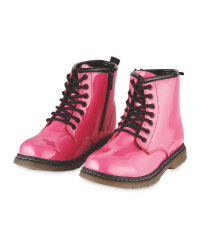Lily & Dan Girls Patent Winter Boot - Pink