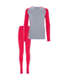 Girls Ski & Sports Base Layer Set - Grey/Pink