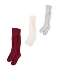 Lily & Dan Cable Tights 3 Pack - Burgundy/Cream/Grey