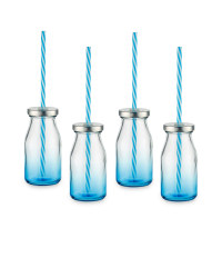 Glass Drinking Bottles - 6 Pack - Blue Ombre