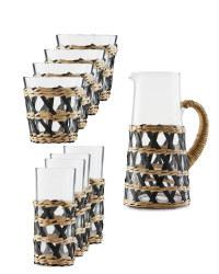 Rattan Drinkware Set
