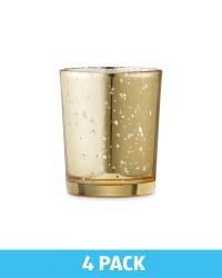 Glass Tealight Holders 4 Pack - Gold
