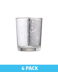 Glass Tealight Holders 4 Pack - Silver