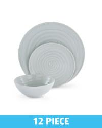 Glazed Dinnerware 12 Piece Set - Grey