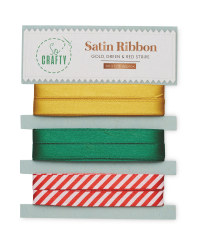 So Crafty Gold, Green and Red Ribbon