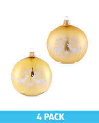 Gold Glass Baubles 4 Pack