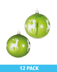 Green Glass Baubles 12 Pack