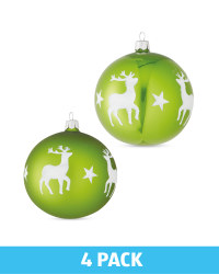 Green Glass Baubles 4 Pack