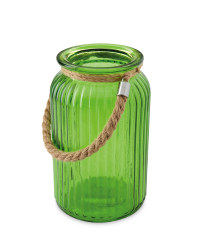 Green Glass Hurricane Lantern