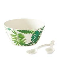 Green Leaf Bamboo Salad Bowl