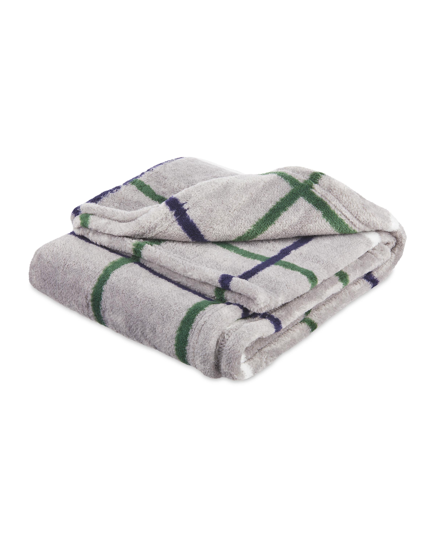 Grey & Green Check Soft Pet Blanket