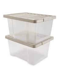 Grey 20L Storage Box 2 Pack