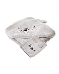 Grey Hooded Towel With Wash Mitt