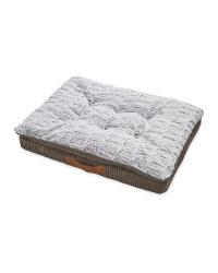 Grey Corduroy Memory Foam Pet Bed
