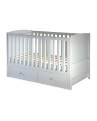 Grey Cot Bed With Drawers