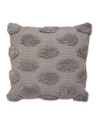 Grey Tufted Leaf Cushion