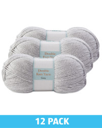 Grey Double Knitting Yarn 12 Pack