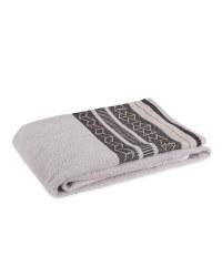 Grey Geometric Bath Towel