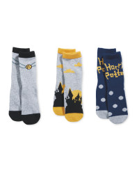 Grey/Gold Harry Potter Socks 3 Pack