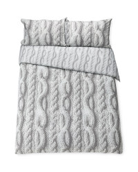 Grey Knit Double Duvet Set