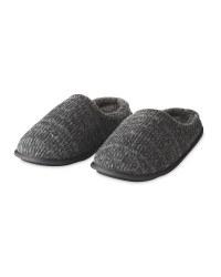 Grey Knit Memory Foam Slippers