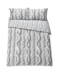 Grey Knit Look Superking Duvet Set