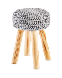 Grey Knitted Stool