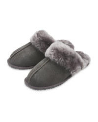 Grey Ladies' Sheepskin Slippers