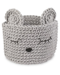 Grey Mouse Crochet Animal Basket