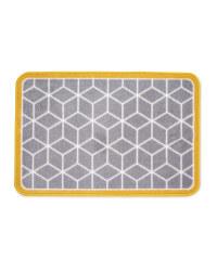Grey/Mustard Geo Luxury Plush Mat