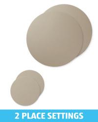 Grey Placemat and Coaster Set